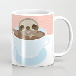 Sloth in a blue cup coffee, tea, Three-toed slot Coffee Mug