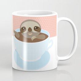 Sloth in a blue cup coffee, tea, Three-toed slot Coffee Mug