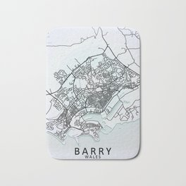 Barry, Wales, White, City, Map Bath Mat