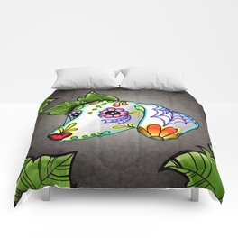 Dachshund - Day of the Dead Sugar Skull Wiener Dog Comforters