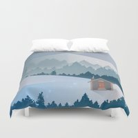 cabin Duvet Covers featuring Cabin by Eric-Bird