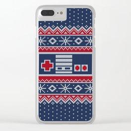 Retro Christmas Nintendo Controller Clear iPhone Case