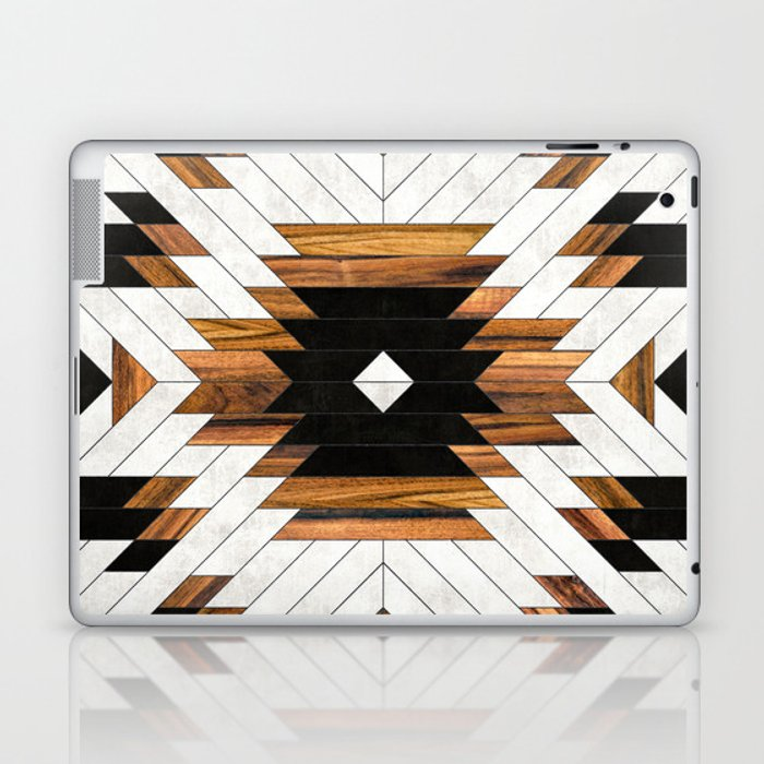 Urban Tribal Pattern No.5 - Aztec - Concrete and Wood Laptop & iPad Skin