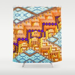 infrastructure III. Blue and Orange Abstract Shower Curtain