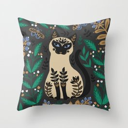 Thai, Siamese cat in the garden. An ornament in the folk style of Hugge. Throw Pillow