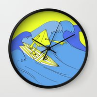 surfer Wall Clocks featuring Surfer by melanie johnsson