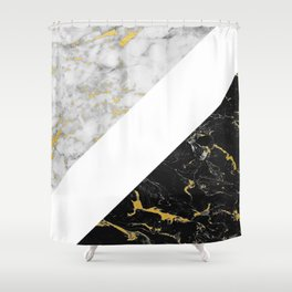 Marble Mix // Gold Flecked Black & White Marble II Shower Curtain