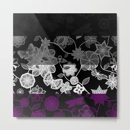 Butterfly Garden, Pride Flag Series - Asexual Metal Print