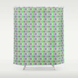 Argyle Diamond Shape Plaid Pattern Dark Purple, Light Purple, Green and Pastel Green Polka Dots Shower Curtain