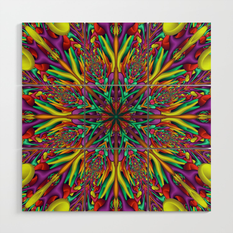 Crazy Colors 3d Mandala Wood Wall Art By Nataliyabykova
