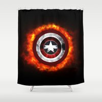 shield Shower Curtains featuring Captain Shield by Kesen