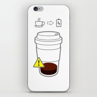 coffe iPhone & iPod Skins featuring Warning coffe low by Komrod