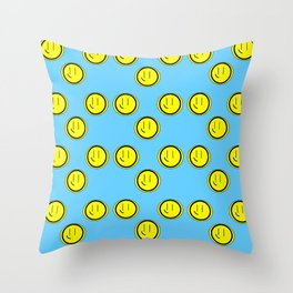 Smiley Faces Blue Sky Background Throw Pillow