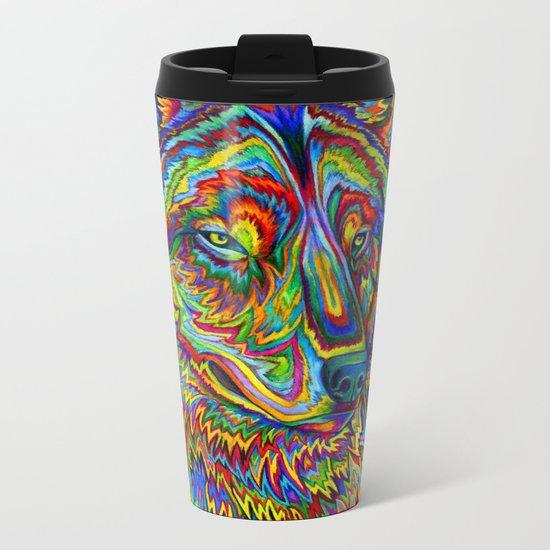 Psychedelic Wolf Metal Travel Mug
