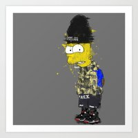 simpson Art Prints featuring Bart Simpson by Haych