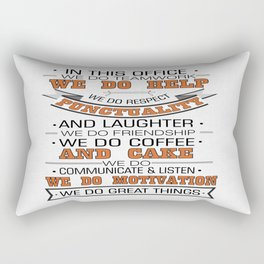 In this office we do teamwork Inspirational Typography Quote Design Rectangular Pillow