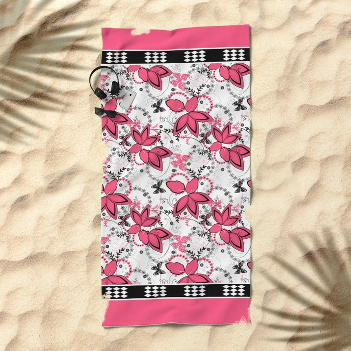 Pink black and white floral pattern . Beach Towel