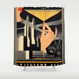 1930's Waldorf Astoria Hotel NYC The Starlight Roof, Champagne Wine Card Vintage Poster Shower Curtain