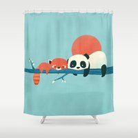 pandas Shower Curtains featuring Pandas by Jay Fleck