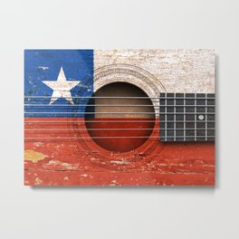 Old Vintage Acoustic Guitar with Chilean Flag Metal Print