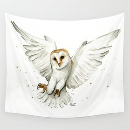 Barn Owl Flying Watercolor | Wildlife Animals Wall Tapestry
