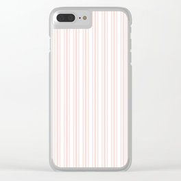 Trendy Large Pink Rosebud Pastel Pink French Mattress Ticking Double Stripes Clear iPhone Case