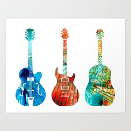 Abstract Guitars by Sharon Cummings Art Print