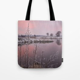 Winter Sunset At River Bank Tote Bag