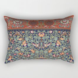 Asian Floral & Butterfly Pattern in Navy Blue Antique Illustration Rectangular Pillow