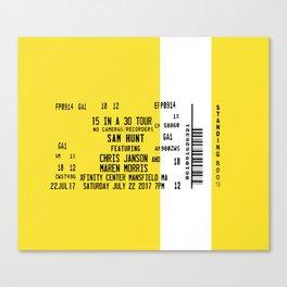 Concert Ticket Stub - Sam Hunt 15 in a 30 Canvas Print