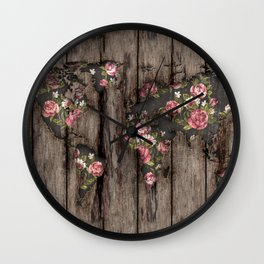 Wood Flowers Mapamundi Wall Clock