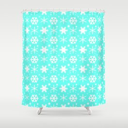Snowflakes Mint Shower Curtain