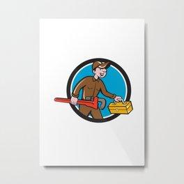 Plumber Carrying Monkey Wrench Toolbox Circle  Metal Print
