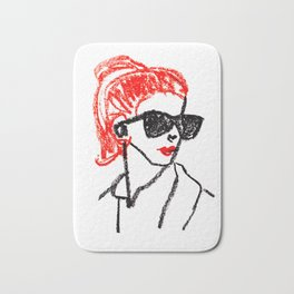 sunglasses and red hair Bath Mat