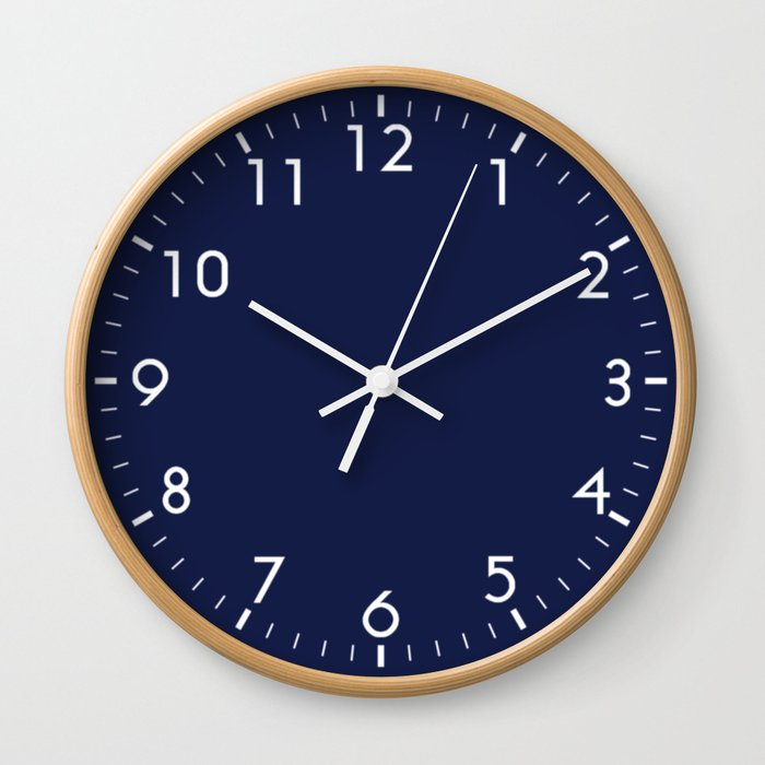 Navy Blue Minimalist Wall Clock by beautifulhomes