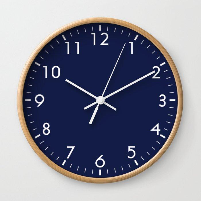 Navy Blue Minimalist Wall Clock