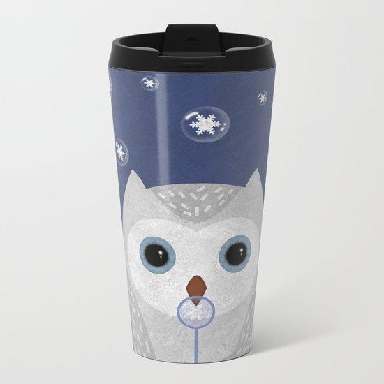 Christmas Owl Blue Marble Metal Travel Mug