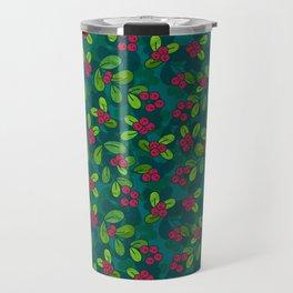 Cranberry Fruit Pattern on Dark Teal Travel Mug