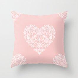 Millennial Pink Blush Rose Quartz Hearts Lace Flowers Pattern Throw Pillow