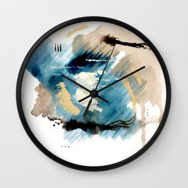 You are an Ocean - abstract India Ink & Acrylic in blue, gray, brown, black and white Wall Clock
