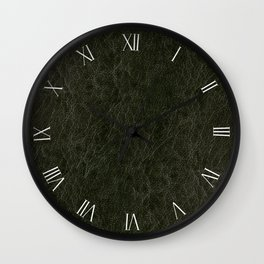 Green porous leather sheet textured abstract Wall Clock