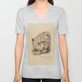 Big Cat & Quote Unisex V-Neck