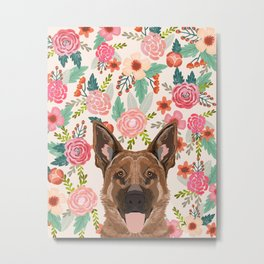 German Shepherd florals flowers spring pet portrait dog art funny german shepherd painting art Metal Print