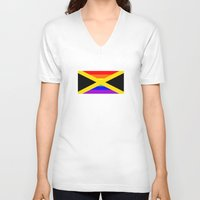 jamaica V-neck T-shirts featuring jamaica country gay flag homosexual by tony tudor