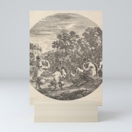 Two satyrs and a faun seated to right watching two child satyrs and another satyr with an child on h Mini Art Print