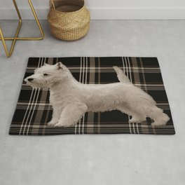 Westie and Stretched Westies on Sepia Plaid  Rug
