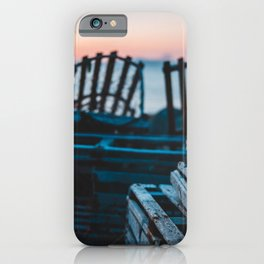 Lobster traps in front of an atlantic sunset iPhone Case