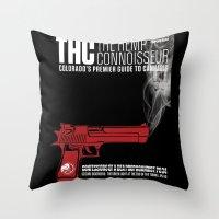propaganda Throw Pillows featuring THC Propaganda by The Hemp Connoisseur  ™