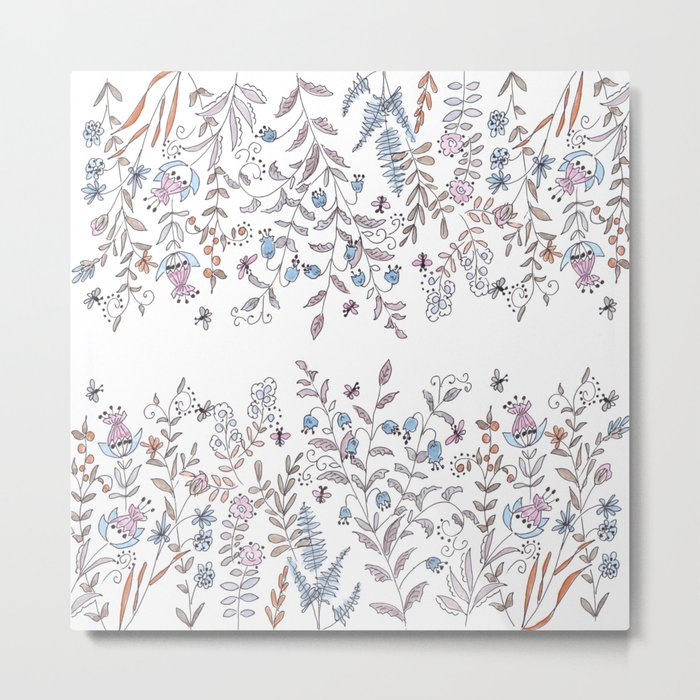 Watercolor pattern . The flowers of the field . Metal Print