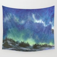 northern lights Wall Tapestries featuring Northern Lights by Aikunihana
